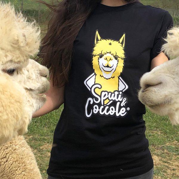 Tshirt alpaca sputi e coccole con 2 alpaca e ragazza