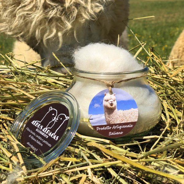 barattolo con fibra di alpaca soffice