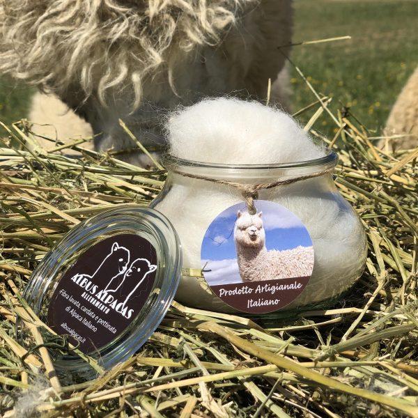 Barattolo fibra di alpaca aperto